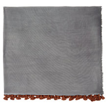 Buy Jigsaw Contrast Edge Scarf, Grey Online at johnlewis.com