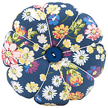 Buy John Lewis Cottage Floral Print Pin Cushion, Navy Online at johnlewis.com