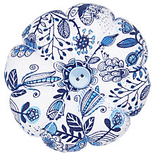 Buy John Lewis Squiggles Print Pin Cushion, White/Blue Online at johnlewis.com