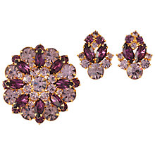 Buy Susan Caplan Vintage 1950s Coro Swarovski Crystal Earrings and Brooch Set, Violet/Lavender Online at johnlewis.com