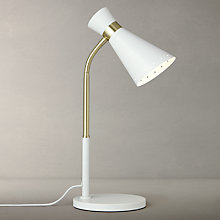 Buy John Lewis Apex LED Table Lamp, White/Satin Brass Online at johnlewis.com