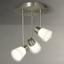 Buy John Lewis Cormack LED 3 Armed Plate Spotlight, Satin Nickel Online at johnlewis.com