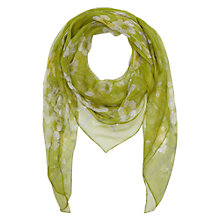 Buy Hobbs Floral Print Silk Scarf, Waterlily Green Online at johnlewis.com