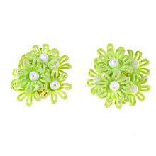 Buy Alice Joseph Vintage 1960s West German Light Clip Earrings, Green/White Online at johnlewis.com
