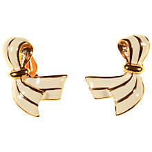 Buy Alice Joseph Vintage D'Orlan Gold Plated Enamerl Clip-On Earrings, Cream Online at johnlewis.com