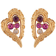 Buy Susan Caplan Vintage 1960s Coro Gold Plated Swarovski Crystal Clip-On Earrings, Fuschia Online at johnlewis.com
