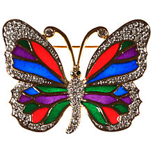Buy Alice Joseph Vintage Gilt Plated Enamel Diamante Stained Glass Butterfly Brooch, White/Blue Online at johnlewis.com