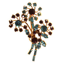 Buy Alice Joseph Vintage Gilt Plated Diamante Spray Brooch, Aqua Online at johnlewis.com