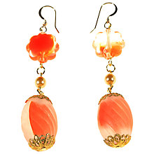 Buy Alice Joseph Vintage 1930s Gold Frosted Bead Drop Earrings, Orange Online at johnlewis.com