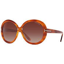 Buy TOM FORD FT0388 Gisella Oval Sunglasses, Tortoise Online at johnlewis.com