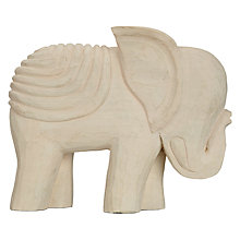 Buy John Lewis White Wooden Elephant Sculpture, Large Online at johnlewis.com