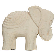 Buy John Lewis White Wooden Elephant Sculpture, Small Online at johnlewis.com