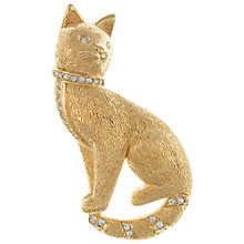 Buy Eclectica Vintage 1980s Grosse Cat Gold Plated Swarovski Crystal Brooch Online at johnlewis.com