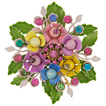 Buy Eclectica Vintage 1950s Floral Gold Plated Brooch, Green Multi Online at johnlewis.com