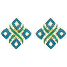 Buy Eclectica Vintage 1970s Trifari Enamel Clip-On Earrings, Teal Online at johnlewis.com