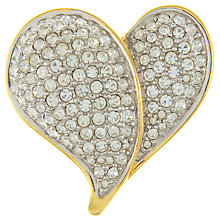 Buy Eclectica Vintage 1980s Swarovski Crystal Gold Plated Heart Brooch Online at johnlewis.com