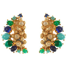 Buy Eclectica Vintage 1967 Christian Dior Gold Plated Clip-On Earrings, Green/Blue Online at johnlewis.com
