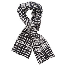 Buy Chesca Printed Cotton Scarf, Grey/Black Online at johnlewis.com