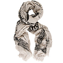 Buy Chesca Butterfly Print Scarf, Light Khaki/ Black Online at johnlewis.com