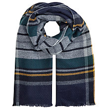 Buy John Lewis Double Faced Check Wrap Scarf, Navy/Multi Online at johnlewis.com