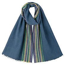 Buy East Striped Scarf, Indigo Online at johnlewis.com