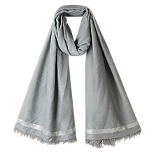 Buy East Sara Lurex Border Scarf, Ash Online at johnlewis.com