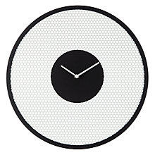 Buy John Lewis Perforated Clock, Dia. 40cm, Black and White Online at johnlewis.com
