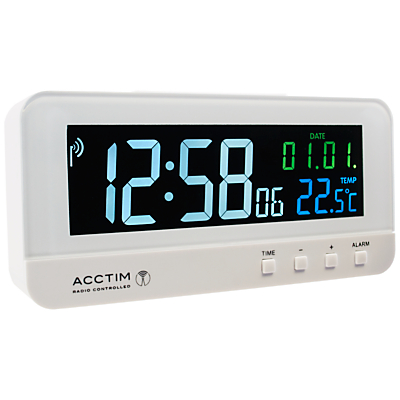 Acctim Radio Controlled LCD Alarm Clock White