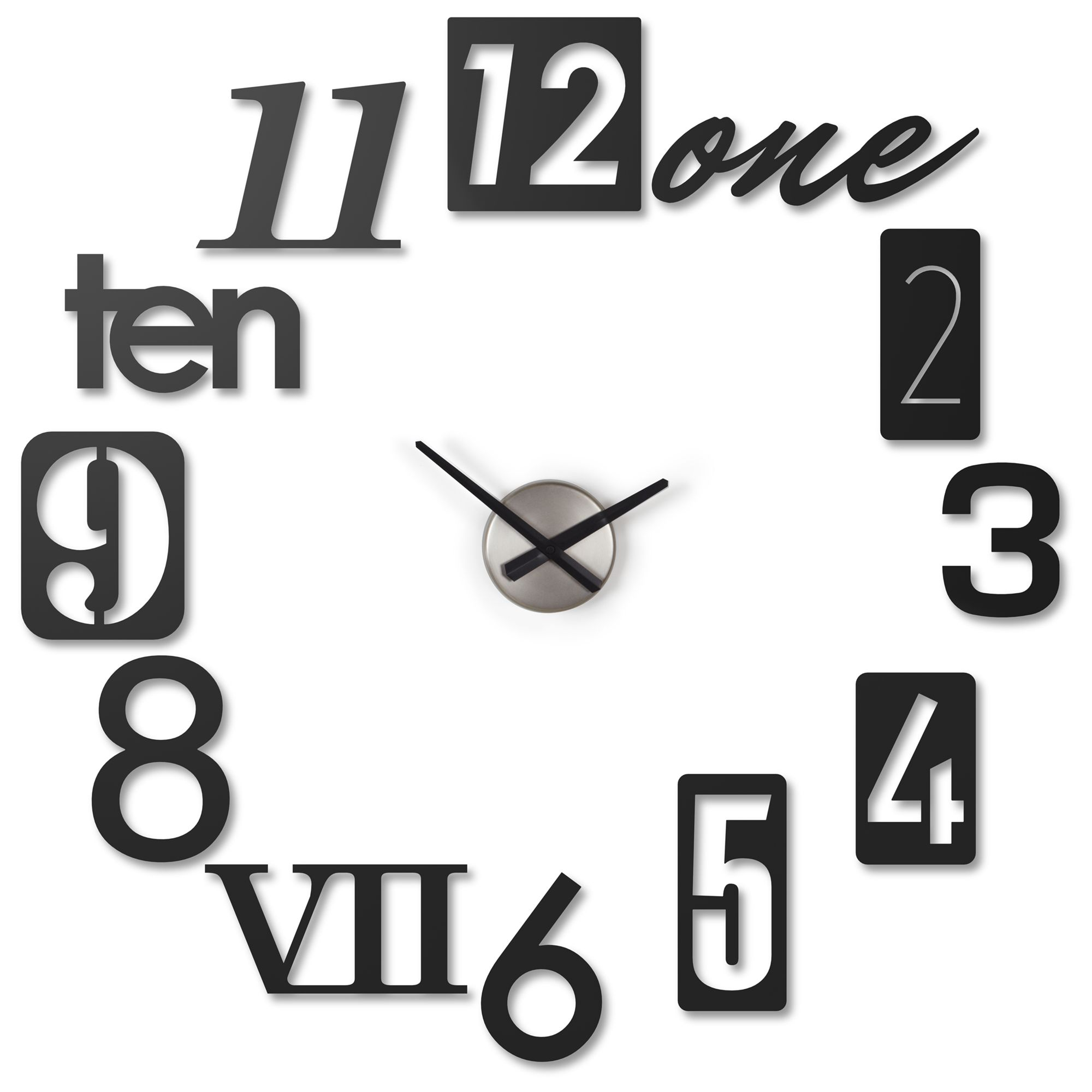 Umbra Umbra Numbra Wall Clock, Black