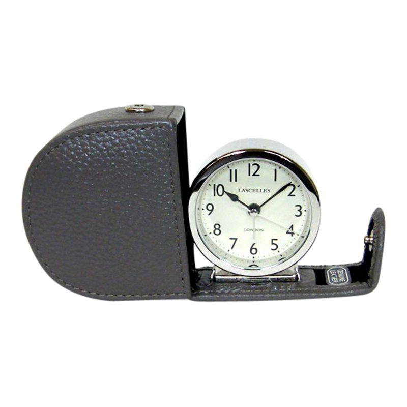 Lascelles Lascelles Travel Alarm Clock, Grey Leather