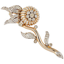 Buy Susan Caplan Vintage 1950s Joseph Mazur Swarovski Crystal Flower Brooch, Gold Online at johnlewis.com