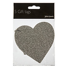 Buy John Lewis Glitter Heart Gift Tags, Pack of 5, Silver Online at johnlewis.com