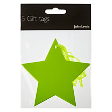 Buy John Lewis Star Gift Tag, Pack of 5, Green Online at johnlewis.com