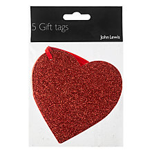 Buy John Lewis Glitter Heart Gift Tags, Pack of 5 Online at johnlewis.com
