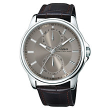 Buy Lorus RX609AX9 Men's Stainless Steel Leather Strap Watch, Brown/Grey Online at johnlewis.com