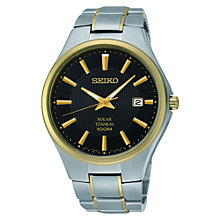 Buy Seiko SNE382P9 Men's Solar Powered Bracelet Watch, Grey/Gold Online at johnlewis.com