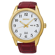 Buy Seiko SNE372P1 Men's Solar Powered Leather Strap Watch, White/Brown Online at johnlewis.com