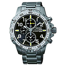 Buy Seiko SSC307P9 Men's Solar Powered Stainless Steel Bracelet Watch, Grey/Black Online at johnlewis.com