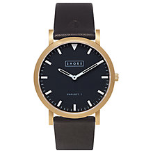 Buy Shore Projects St Ives W003S008G Gold Plated Leather Strap Unisex Watch Online at johnlewis.com