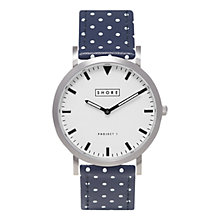 Buy SHORE Projects Poole W002S006S Silver Plated Leather Strap Unisex Watch, Navy Spot Online at johnlewis.com