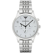 Buy Emporio Armani AR1879 Men's Beta Chronograph Bracelet Watch, Silver Online at johnlewis.com