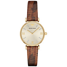 Buy Emporio Armani AR1883 Women's Gianni T-Bar Lizard Strap Watch, Brown Online at johnlewis.com
