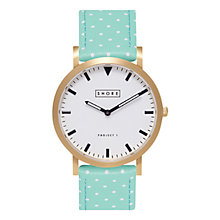Buy SHORE Projects Portland W004S016G Gold Plated Leather Strap Unisex Watch Online at johnlewis.com