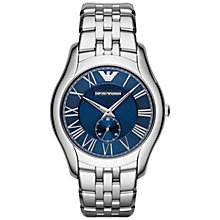 Buy Emporio Armani AR1789 Men's Valente Bracelet Watch, Silver/Blue Online at johnlewis.com