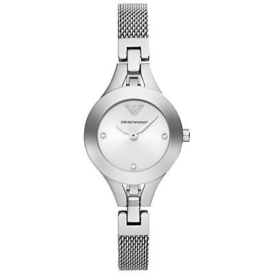 Emporio Armani AR7361 Women's Mesh Bracelet Strap Watch, Silver
