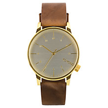 Buy Komono KOM-W2254 Unisex Winston Leather Strap Watch, Light Brown/Gold Online at johnlewis.com