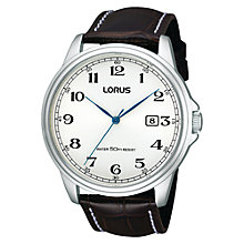 Buy Lorus RS985AX9 Men's Leather Strap Watch, Black Online at johnlewis.com