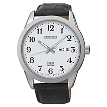 Buy Seiko SNE371P1 Men's Solar Powered Leather Strap Watch, White/Black Online at johnlewis.com