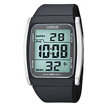 Buy Lorus R2303HX9 Men's Stainless Steel Resin Strap Digital Watch, Black/Grey Online at johnlewis.com