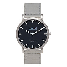 Buy Shore Projects Whitstable W001S017S Silver Plated Canvas Strap Unisex Watch Online at johnlewis.com
